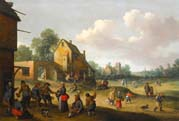 village scene with figures outside an inn